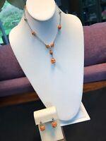 """Vintage Peach Orange Drop pendant necklace Silver tone Chain 16"""" Earring Set"""