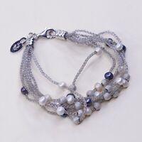 "6.25"" Vtg Sterling Silver Multi Strands bracelet, 925 Mesh Chain W/Cluster Pearl"
