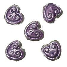 Patrón de color púrpura Esmaltado corazón granos del metal 15 mm paquete de 5 (A94/3)