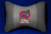 Embroidered car seat neck rest pillow - Cane Corso. Gift for dog lovers.