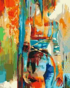 Abstract Colorful Girl Back Canvas Art Picture Oil DIY Paint Set by Numbers Kits