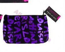 Ladies Black / Lilac Text Flowers Glamour Essentials Make-up / Cosmetics Bag