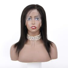 """Large Cap Size Full Lace Wig With Baby Hair 12"""" Natural Black #1b Human Hair Wig"""
