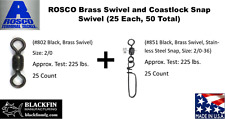 ROSCO BRASS SWIVEL + COASTLOCK SNAP SWIVEL Size 2/0 (25 EACH,50 TOTAL) USA MADE