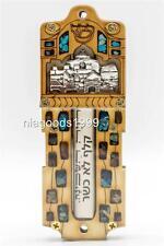 Jewish Mezuzah wooden case Scroll Silvered Jerusalem sky line Judaica Guardian