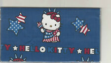 HELLO KITTY CHECKBOOK COVER FABRIC NEW FLAG USA STARS RED WHITE AND BLUE