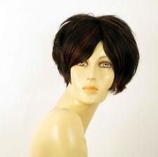 perruque femme 100% cheveux naturel courte méchée noir/rouge AMANDINE 1b410