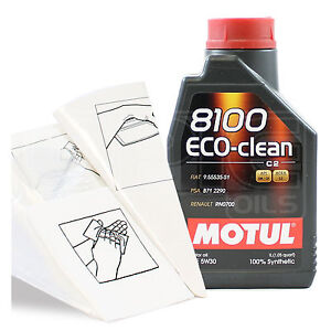 Engine Oil Top Up 1 LITRE Motul 8100 Eco-clean 5W-30 5W30 C2 + Gloves & Funnel