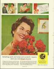 1960 Vintage ad for Florists Telegraph Delivery/ red carnations in ad (030113)