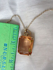 "Fossil 14kt gold clad Large faceted stone necklace 24"" up to 25.5"" fossil charms"