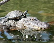Turtle Farming Motivational Poster Art Painted Alligator Snapping Courage MVP503