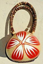 Hawaiian Coconut Shell Hand Painted Hibiscus Flower Handbag Beaded Purse
