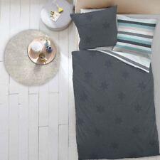 4 tlg. Dormisette Wende Biber Bettwäsche 135x200 cm Sterne mint anthrazit 5596E4