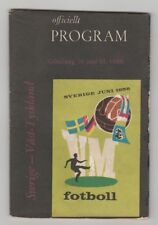 Orig.PRG   World Cup SWEDEN 1958   SWEDEN - GERMANY  1/2 FINAL  !!  EXTREM RARE