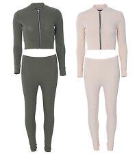Womens Ladies Zip Ribbed Crop Bomber And Leggings Loungeset Loungewear Tracksuit