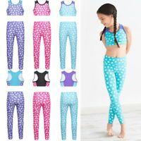 Girls Dancewear Gymnastics Outfit Sleeveless Racer Back Tanks Crop Top+Legging