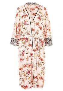 M&S Silky Soft Satin Finish Tropical print Design Robe Dressing Gown Size 6-22