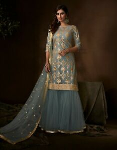 Gray Zari Embroidered Sequins Net Indo Western Gharara Designer Suit Bollywood