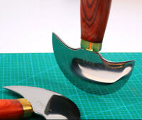 Professional half rounded leather craft knife wood handle cutting skiving Tool