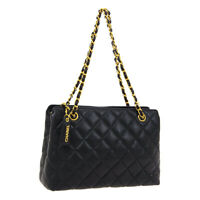 CHANEL Quilted CC Chain Shoulder Tote Bag 3773246 Purse Black Caviar Auth M14798