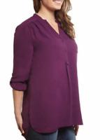 Ali & Kris Women's Roll Tab High Low Hem Semi Sheer Blouse - Plum - Select size