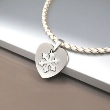 Silver Winter Symbol Love Heart Pendant Womens White Braided Leather Necklace