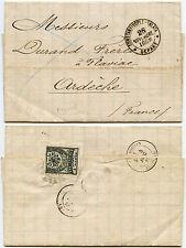 TURKEY 1883 ENTIRE LETTER to FRANCE...1pi...BLUE CANCEL Stamp broken as seal