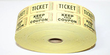 """Double Raffle Ticket Roll 2000 Tickets Per Yellow 50/50 Drawing Numbered 2""""X1"""""""