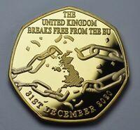 Brand New BREXIT 'BREAKING FREE' 24ct Gold Commemorative. UK EU Politics 2021