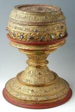 19th C., Mandalay, Antique Burmese Offering Bowl Decorated with Mirror Tiles