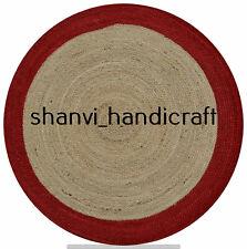Round Braided Natural Handmade Multi Color 4 Feet Jute Rug Area Rugs Carpet Mat