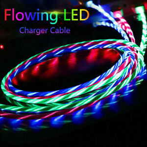 UK LED Flowing Light Up Fast Charger Charging Cable For Samsung Huawei iPhone LG