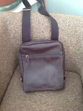 Fossil Haskell Courier Dark Brown Leather Cross Body Bag BNWT