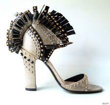 new $1800 PRADA gray black JEWELED STUDDED ankle strap heels shoes 36 US 6 - ART