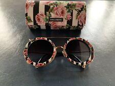 DOLCE & GABANNA Runde Sonnenbrille Gold / Schwarz mit abnehmbaren Aufsatz Blumen