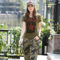 Women T Shirt Short Casual Sleeve Sexy Summer Blouse Printed Military Loose Tops