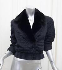 ESCADA Womens Black+Rayon Silk Quilted BEAVER FUR Collar Jacket Coat 40/8 M