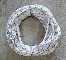 """3/8"""" x 95 ft. White/red trace  Dac/Polyester Halyard,Spliced in S/S Snap Shack."""