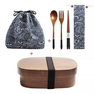 Japanese Wood Bento Boxes Lunch Box with Lunch Bag Compartment with Chop sticks