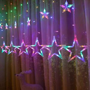 LED Lichtervorhang Weihnachtsbeleuchtung Lichterkette Bunt Sterne Deko 2.5M