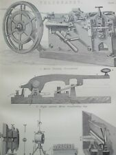 ANTIQUE PRINT DATED C1870'S TELEGRAPHY ENGRAVING MORSE PRINTING INSTRUMENT ART