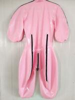 100% Latex Rubber Sweet Pink Catsuit Zipper Bodysuit Suit Size XXS-XXL