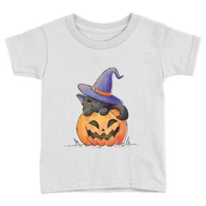 Pumpkin Cat Kids T-Shirt Halloween Cute Cat Kitten Witch Art Gift