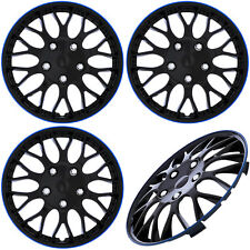 "4PC Set of 16"" ICE BLACK / BLUE TRIM Hub Caps Skin Rim Cover for OEM Steel Wheel"