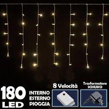 Tenda Luminosa Natalizia 180 LED Luce Bianco Caldo 3 METRI per Esterno