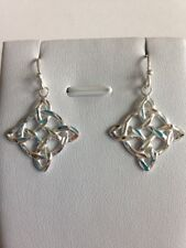 Sterling Silver Diamond Cut Celtic Knot French Wires 3.5cm Drop Earrings