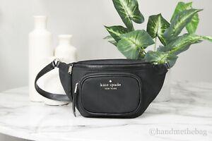 Kate Spade New York Dorien Nylon Leather Medium Black Waist Fanny Pack Belt Bag