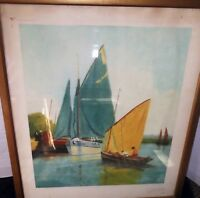Circa 1936 SIGNED BY DECHAMPS Antique Etching - Engraving Print - THE GREEN SAIL