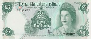 P6a CAYMAN ISLANDS FIVE DOLLARS 1974 BANKNOTE IN MINT CONDITION