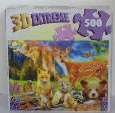Master Pieces 500 piece 3-D 3D Extreme Jigsaw Puzzle CUTE CRITTERS fox cat deer